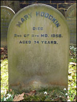 Grave of Mary Hodgkin, Darlington