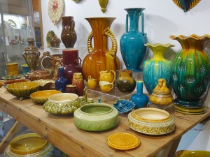 Linthorpe Pottery display at the Dorman Museum